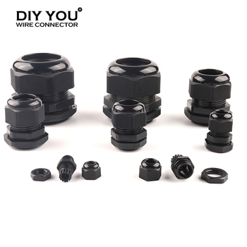 10pcs M type Waterproof Cable Gland Connector IP68 Black M12x1.5 for 4-6.5mm M16/20/25/32/40/50/63 Cable Nylon Plastic Connector white 10pcs ip68 m12 for 3 6 5mm pg7 m16 m18 m20 m25 m36 m40 m63 wire cable ce waterproof nylon plastic cable gland connector