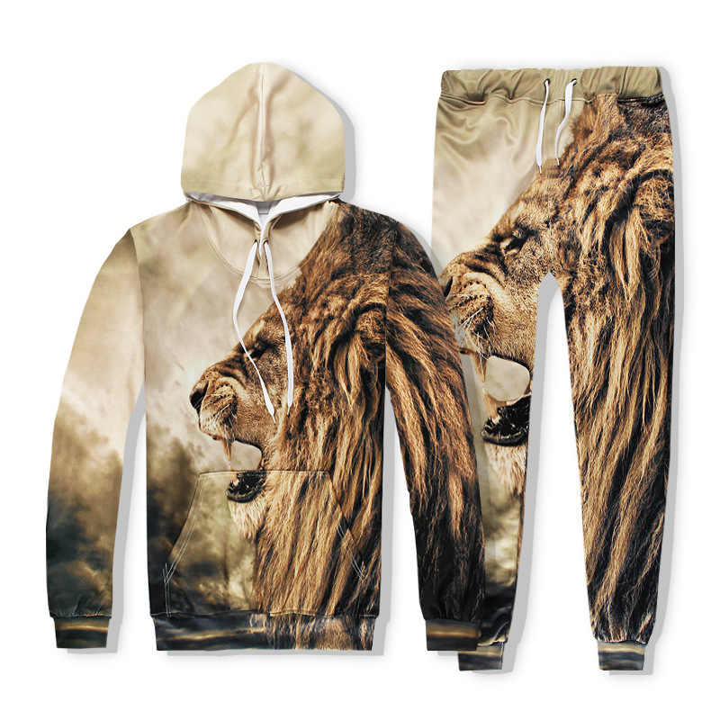 2020 New Men Casual Sets Lion Head Hot Sale 3D Digital Printing Man Fashion Hip Hop Male Sets Long Sleeve Big Size XXL