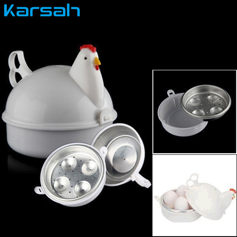 Kitchen Eggs Steamer Chicken Shaped Microwave Portable Mini Cute Kitchen Cooking Appliances Steamer 4 Egg Boiler Cooker Novelty