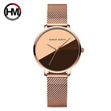 Reloj de pulsera de malla de acero inoxidable para mujer, movimiento de cuarzo japonés de calidad A +++, resistente al agua, Vintage