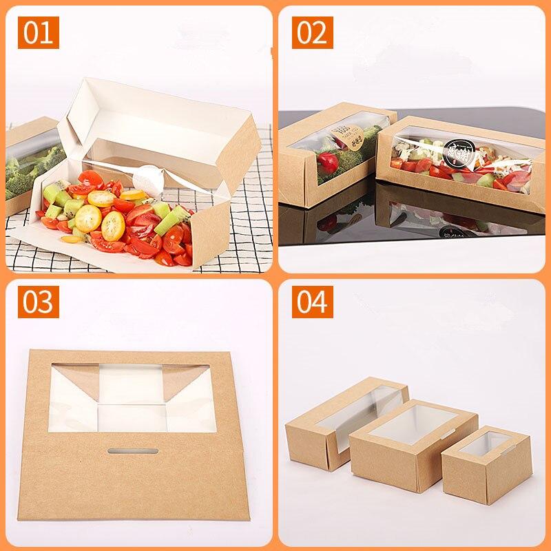 50pcs Kraft papier boîte à déjeuner jetable salade de fruits dessert boîte de nourriture de haute qualité frite poulet à emporter boîte d'emballage avec fenêtre - 4