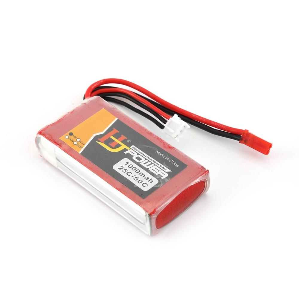 HJ 7.4V 1000MAH 25C 2S Lipo Battery JST Plug Rechargeable For RC Racing Drone Helicopter Car Boat Model