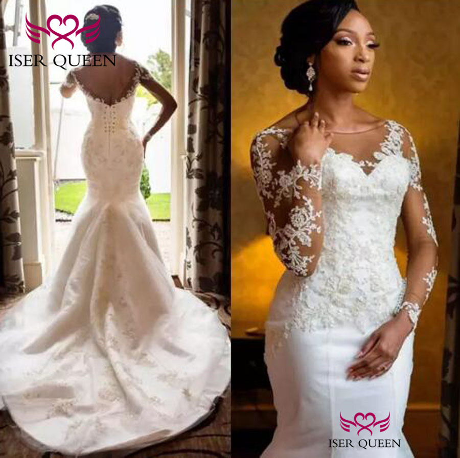 Embroidery Illusion Soft Satin Vintage Long Sleeves Mermaid Wedding Dresses Button Pure White Sexy Backless Vestido  W0365