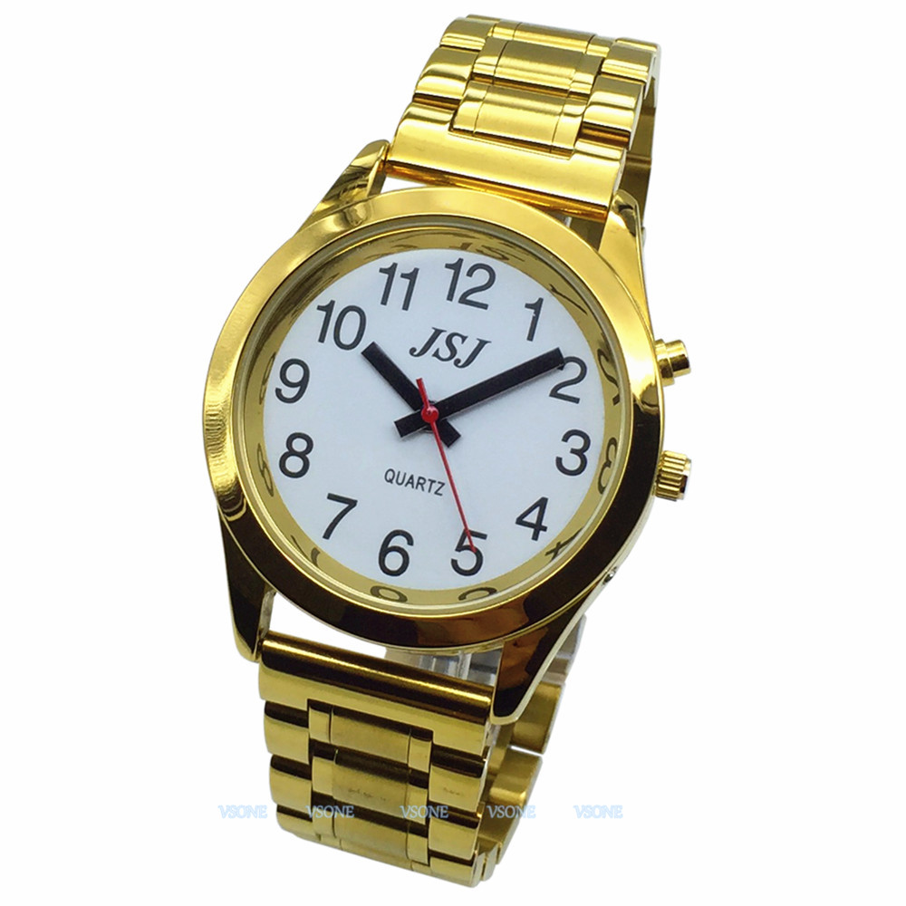 English Talking Watch With Alarm Function, Talking Date And Time, White Dial, Folding Clasp, Golden Case TAG-708