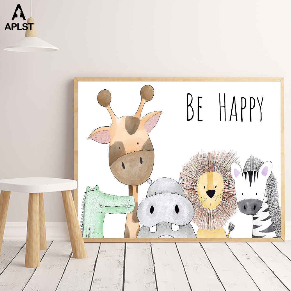 Be Happy Nursery Room Prints Painting On Canvas Animals Hippo Giraffe Monkey Lion Poster Picture Home Decor For Kids Baby Room