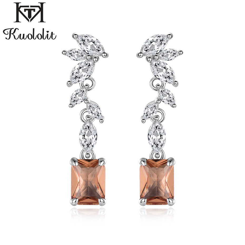 Kuololit Zultanite Gemstone Drop Earrings for Women Solid 925 Sterling Silver Color Change Diaspore Engagement Fine Jewelry