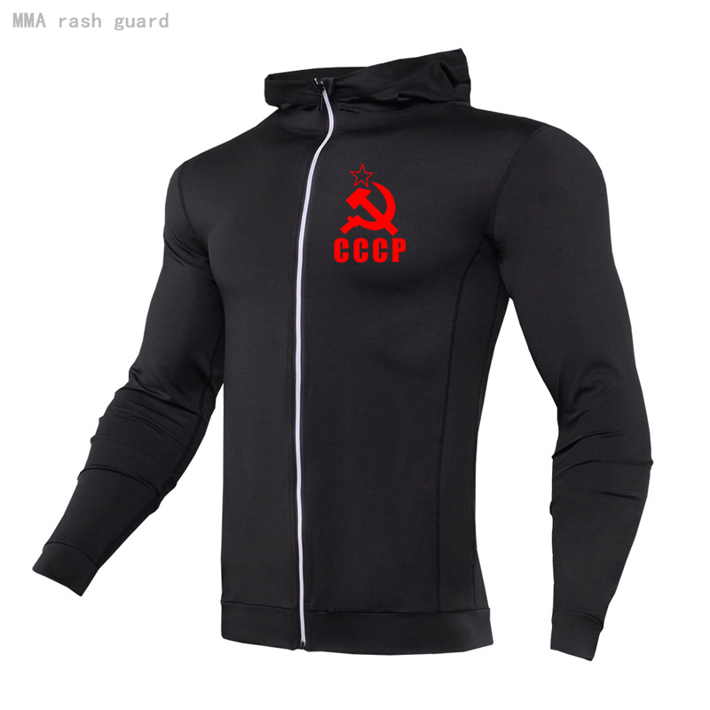 Casual Men's Sweater hoodie Autumn Fitness Jogging suit Breathable stretch tight CCCP Hoodie Long sleeve tracksuit Men clothing 1