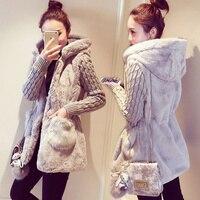 Spring Autumn Jacket Women Hooded Coat Furry Faux Fur Knit Sweater Coat Big Pocketswomen Coats And Jacket Plus Size Women Jacket