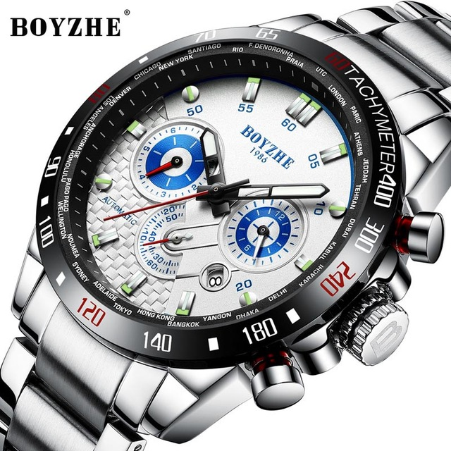 Automatic Mechanical Watch Men Sport  Business Watch Stainless Steel Military Classic Dress Mens Watches