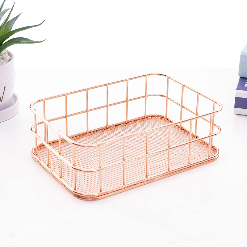 Office Organizer- Rose Gold Wire Storage Baskets  Rust Proof Steel ,For Cosmetics,jewelry,stationery,book Magazine,medicine