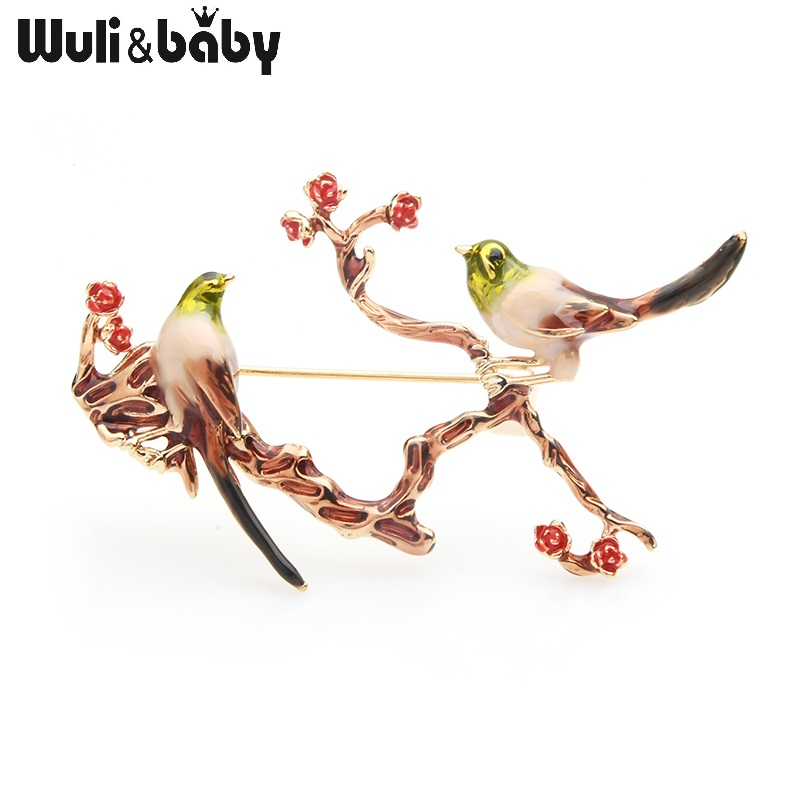Wuli&baby Couple Birds On the Tree Brooches Women Enamel Animal Flowers Weddings Brooch Pins Gifts