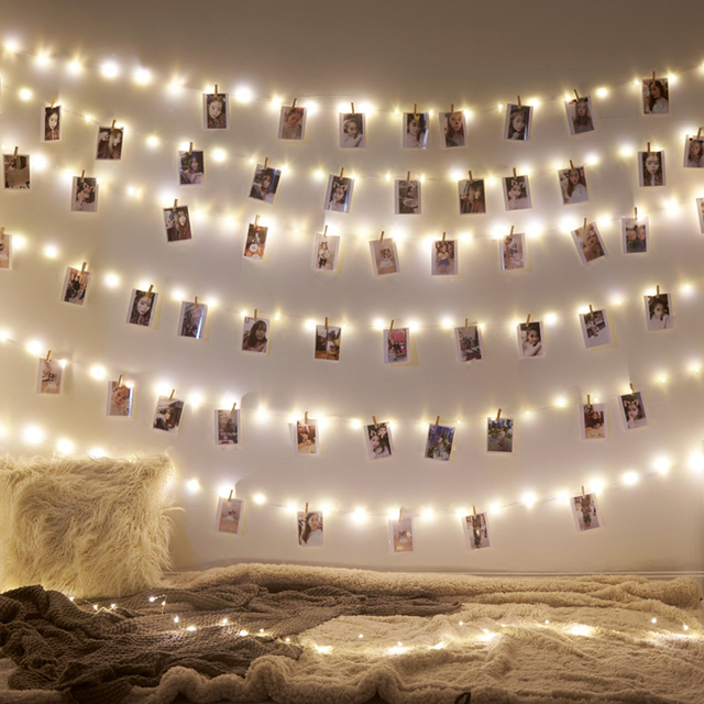 Garland Led 2M 5M 10M USB LED sznurki z diodami wróżka świąteczna światło na klips do zdjęć łańcuchy świetlne zasilany z baterii Outdoor Wedding