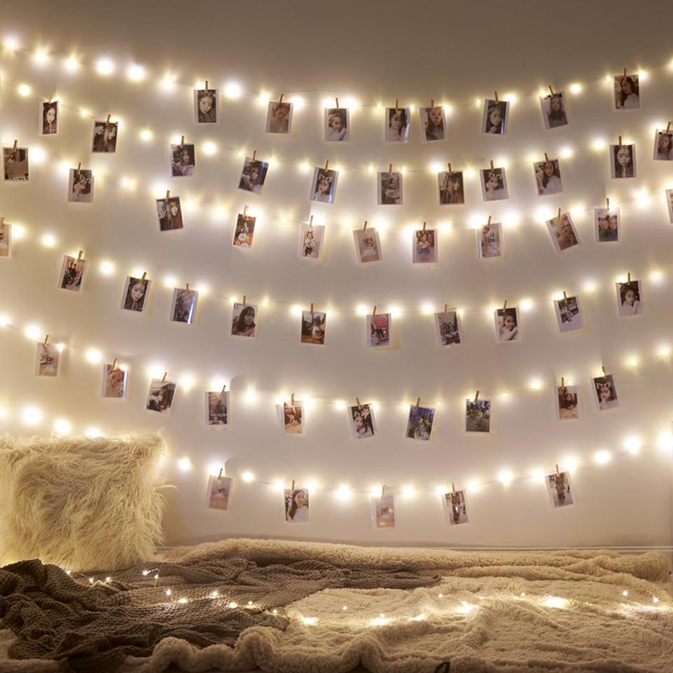 Ghirlanda Led 2M 5M 10M Usb Led Stringhe di Luce di Natale Luce Fata per La Foto Clip di Luci Della Stringa alimentato a Batteria da Sposa All'aperto