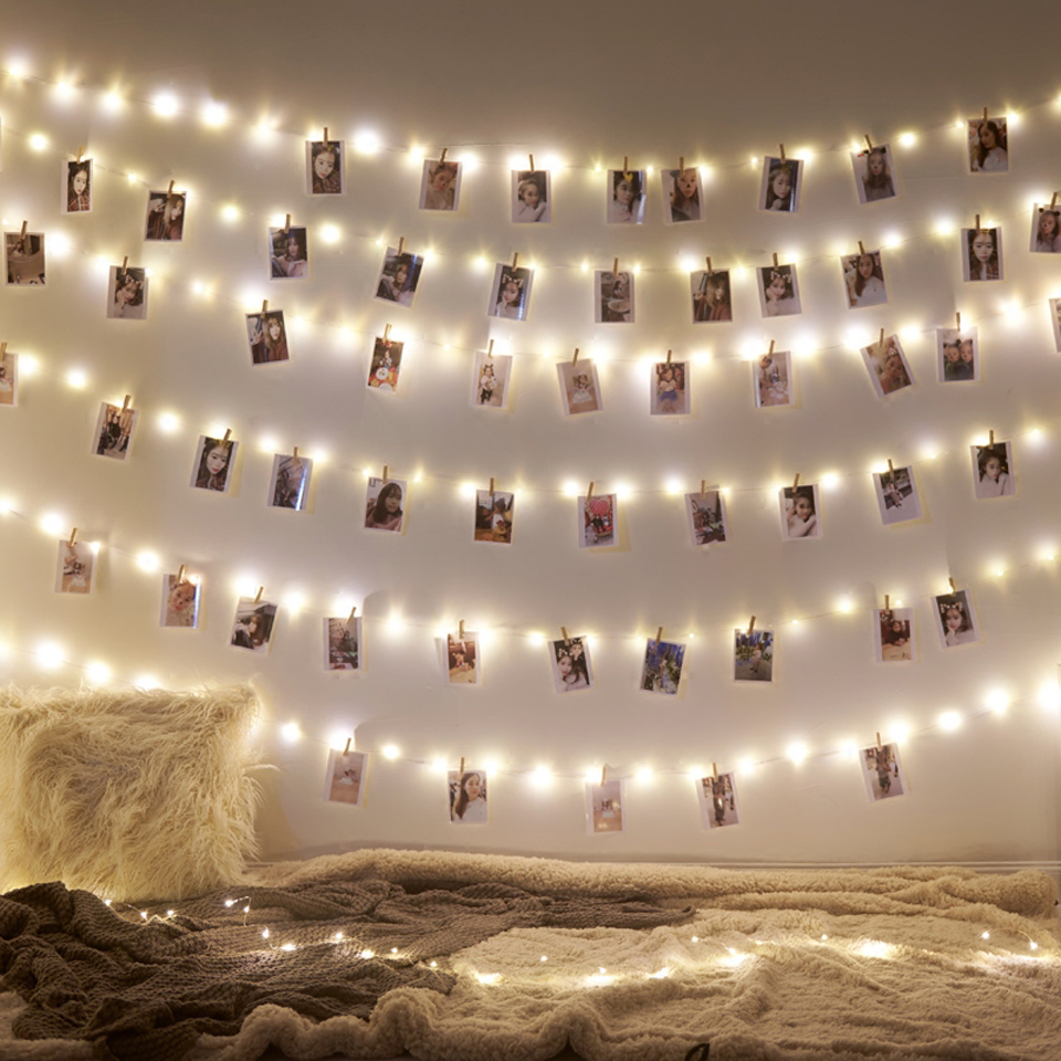 Guirnalda Led 2M 5M 10M USB luces LED luces de hadas de Navidad para foto Clip cadena luces con batería al aire libre boda