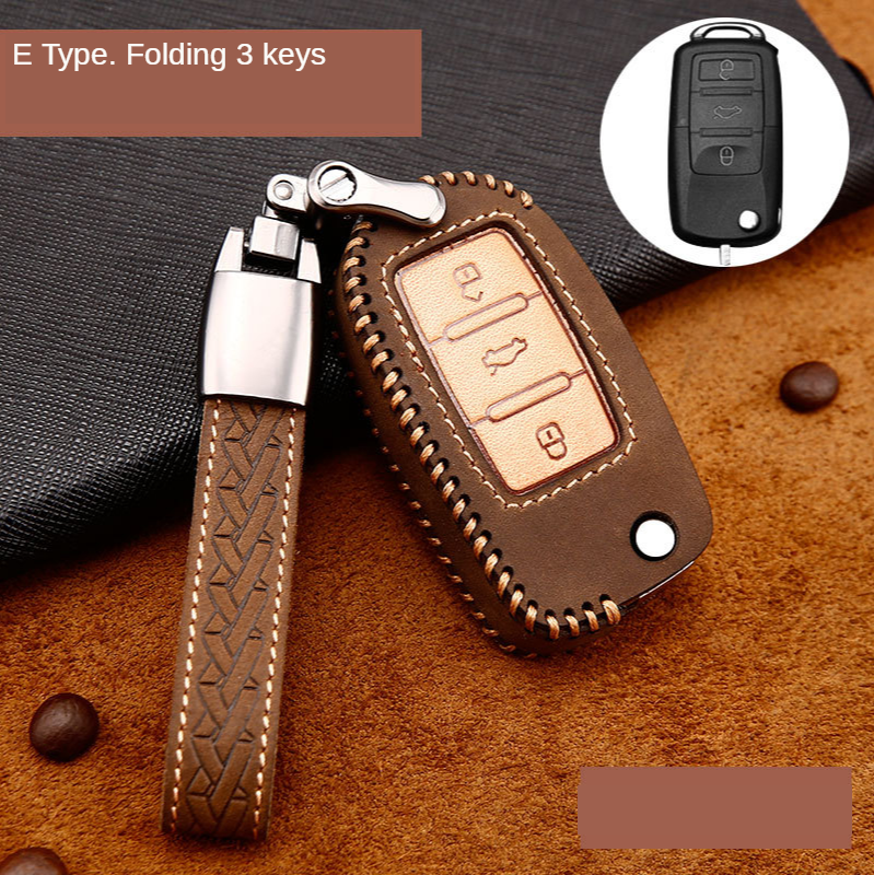 Crazy Horse Car Key Cover Case Shell Fob for VW Golf Bora Jetta POLO GOLF 5 6 Passat