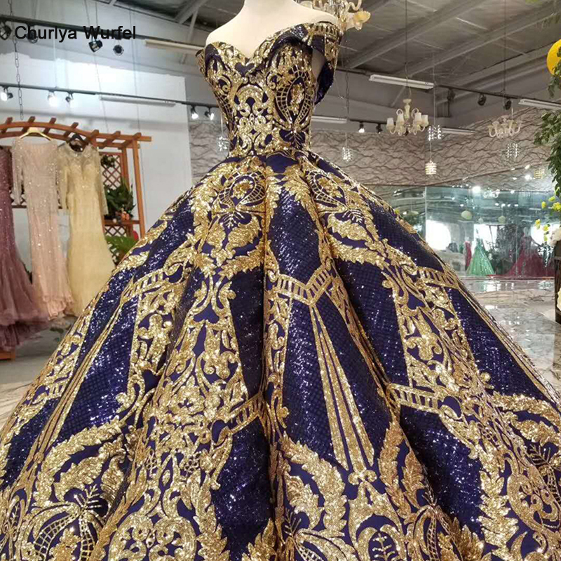 HTL387 luxury floor length queen prom dresses navy curve shape ball gown golden lace evening party