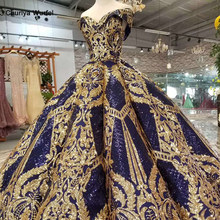HTL387 luxury floor length queen prom dresses navy curve shape ball gown golden lace evening party dresses glitter free shipping(China)