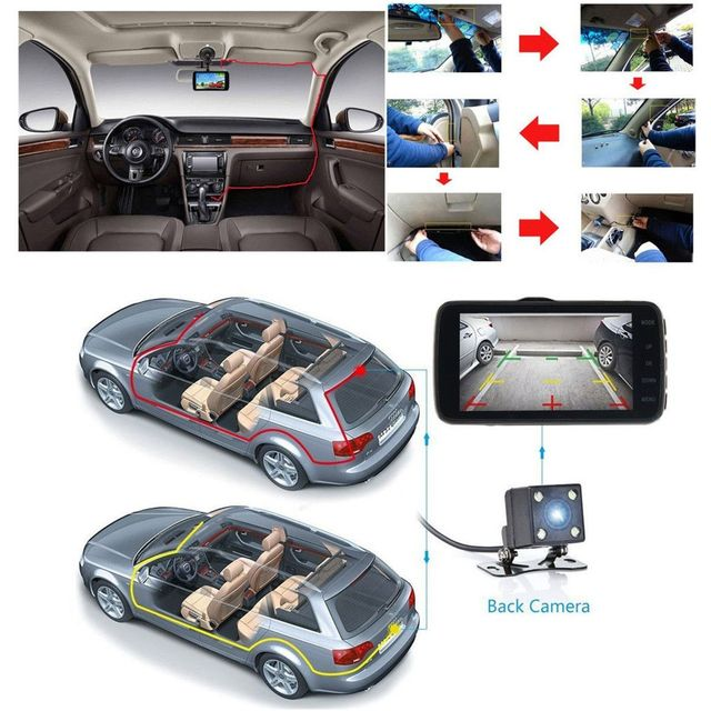 Dash Cam DVR voiture enregistreur tableau de bord caméra double DVR caméra vidéo voiture caméra 4