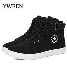 YWEEN 남자 Vulcanize 신발 남자 봄 가을 최고 패션 스 니 커 즈 레이스 업 높은 스타일 단색 남자 신발