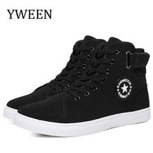 YWEEN hommes vulcaniser chaussures hommes printemps automne haut à la mode baskets à lacets haute Style solide couleurs homme chaussures