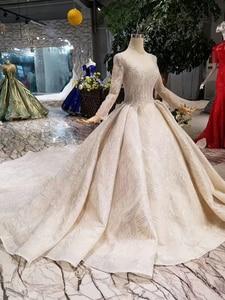 Image 3 - BGW HT43019 יוקרה חתונה שמלה עם ארוך רכבת תחרה נצנצים מבריק בעבודת יד חתונה שמלת ארוך שרוולים מוסלמי שמלה