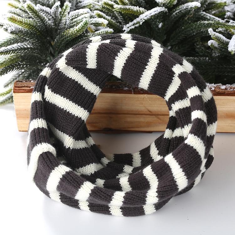 Корейский на осень-зиму кольца Шарф детский маленький шарф в полоску вязаный однотонная, маленькая комбинезон Теплая дутая куртка для мальчиков и девочек зимняя юбка