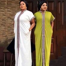 White Abaya Dress Turkey Embroidery Muslim-Hijab Kaftan Moroccan Dubai Arab Gown Elegant