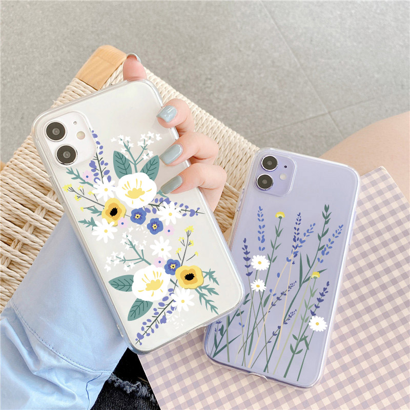 Cute Flower Clear Phone Case For Samsung Note 10 Plus 8 9 A30 A50 A40 A70 A71 A51 A80 A5 A8 S8 S10E S9 S10 S20 Soft Back Cover