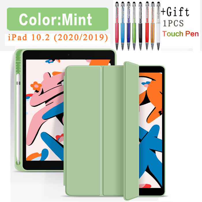 Flip Case-Mint White Funda Case For Apple iPad 10 2 2020 2019 flip Case with Pencil Holder For iPad