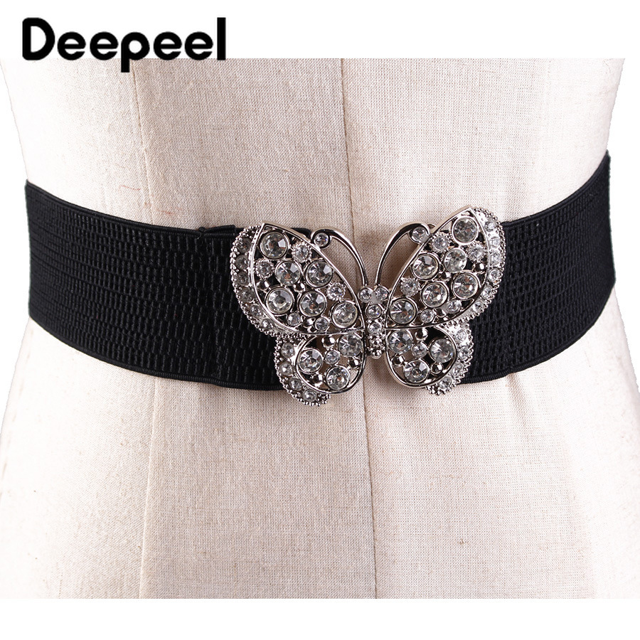 Deepeel 1pc 5.8*60-80cm Women Diamond Black Cummerbunds Hige Waist Elastic Wide Belts  Black Corset Girdle For Dress Shirt CB660