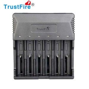 30 pçs/lote trustfire TR-012 universal inteligente 6 slots carregador de bateria para 26650 18650 16340 14500 aa aaa baterias de lítio