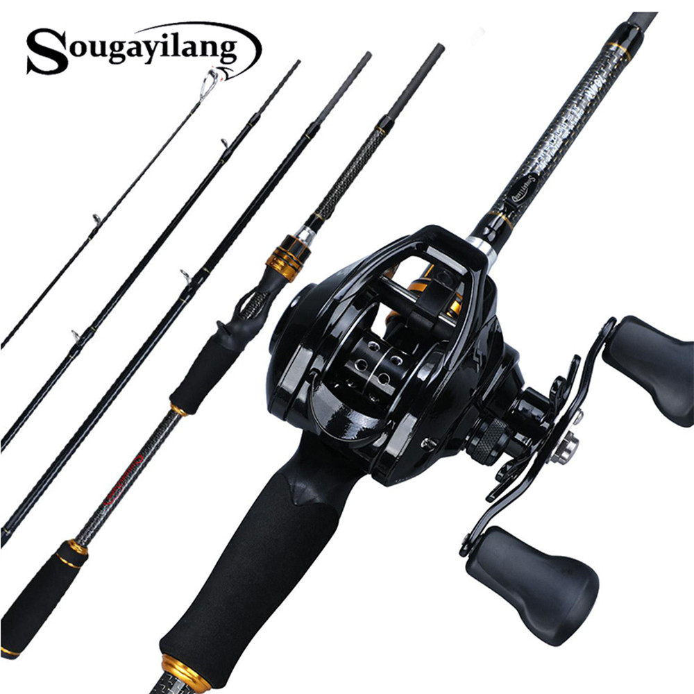 Sougayilang 1.8M 2.1M 2.4M Casting Fishing Rod Reel Combo 4 Sections Carbon Fiber Fishing Rod Baitcasting Reel Pesca Tackle