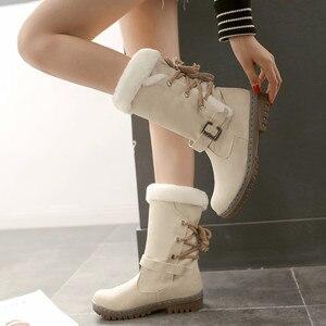 Image 3 - Winter Boots Women  Warm Velvet Woman Booties Shoes 2020 Mid calf Lace Up  Winter Women Shoes Female Botas Botines Ladies Shoes