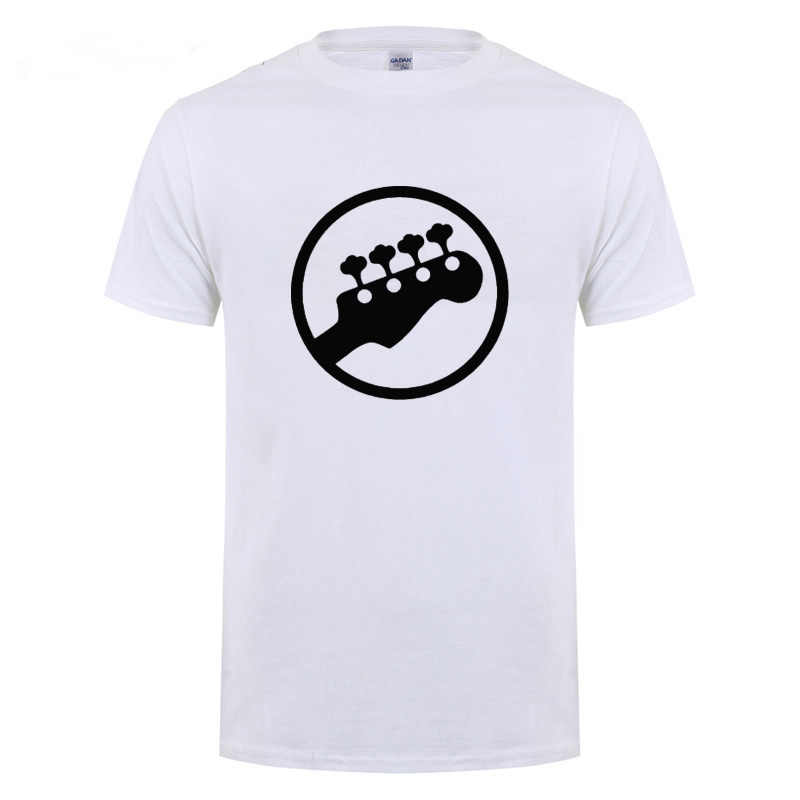 Bass Kop Gitaar Symbool Gitarist Speler Muzikanten Muziek Rock T-Shirt Grappige Verjaardagscadeau Voor Mannen O Hals Katoenen T-shirt tee