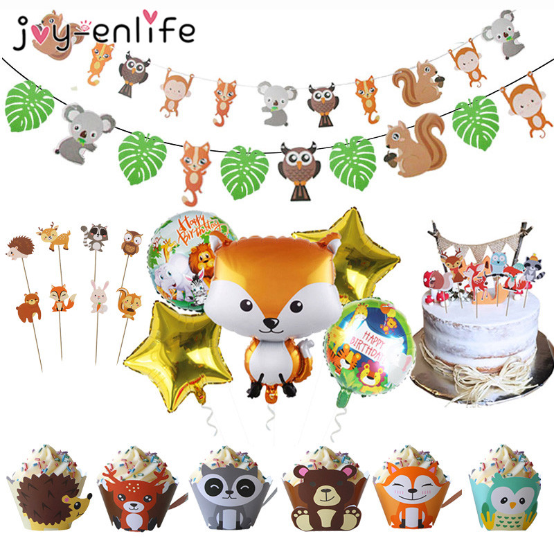 Woodland Friends Jungle Party Animal Happy Birthday Banner Foil Balloon Decorations Baby Shower Birthday Safari Party Supplies