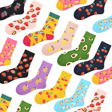 Cute Cartoon Fruit Print Avocado Banana Cherry Peach Girls Kawaii Socks meias Korean Harajuku Autumn Winter happy Socks calzette cute cartoon fruit print avocado banana cherry peach girls kawaii socks meias korean harajuku breathable pile heap funny socks