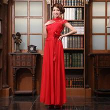free shipping 2014 new red married formal evening wear long dress adult women chinese style slim short design Evening Dresses