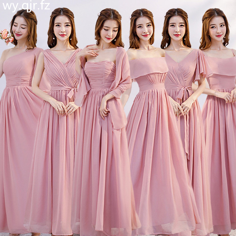 XMFS-75F#Pink Bridesmaid Dress Long Lace Up Chiffon Bra V-neck Etc 6 Style Wedding Party Prom Dresses  Girl Cheap Wholesale