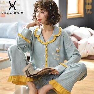 Image 1 - Dorywczo owocowy kieszonkowy kardigan na guziki kobiety Pijama Lapel z długim rękawem spodnie wygodna piżama dla kobiet dorywczo śliczna odzież domowa