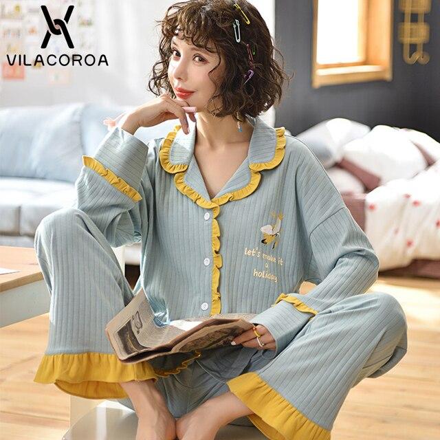 Dorywczo owocowy kieszonkowy kardigan na guziki kobiety Pijama Lapel z długim rękawem spodnie wygodna piżama dla kobiet dorywczo śliczna odzież domowa