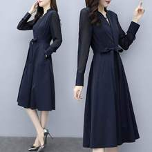 Spring and summer new style V-neck waist slimming chiffon dress Temperament elegant long sleeve