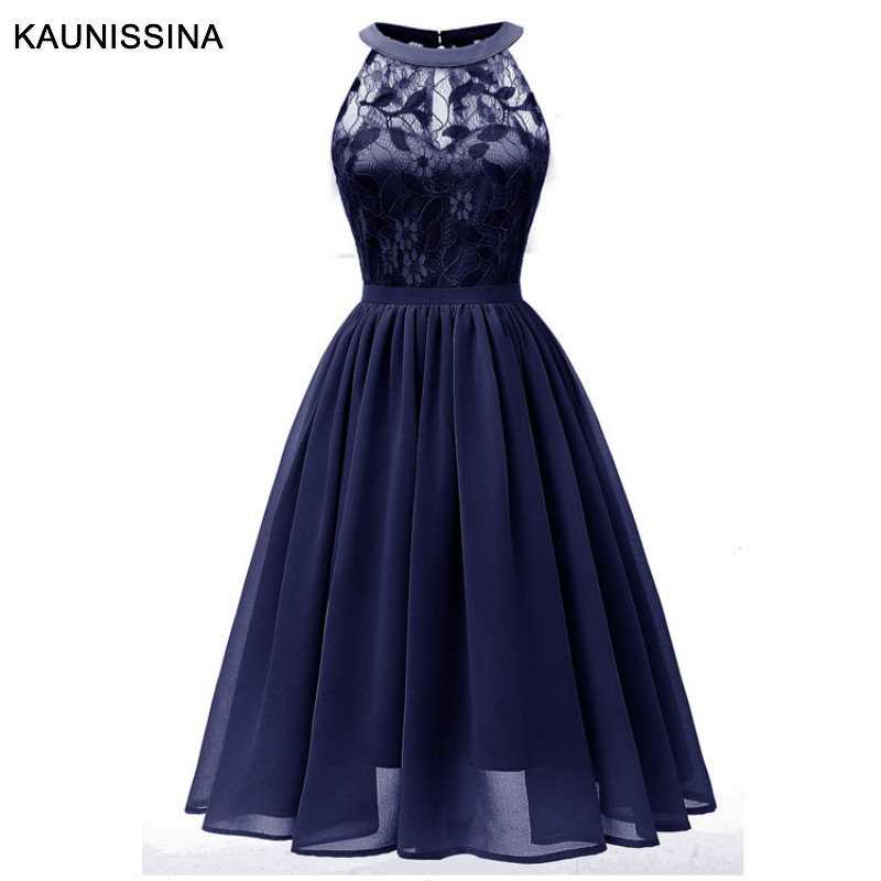 KAUNISSINA  Elegant Short Cocktail Dresses Halter Knee Length Neck Chiffon Lace Solid A-line Party Dresses Vestidos