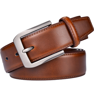 Image 2 - Mens Genuine Leather Dress Belt Classic Stitched Design 38mm ALL LEATHER Regular Big and Tall Sizes