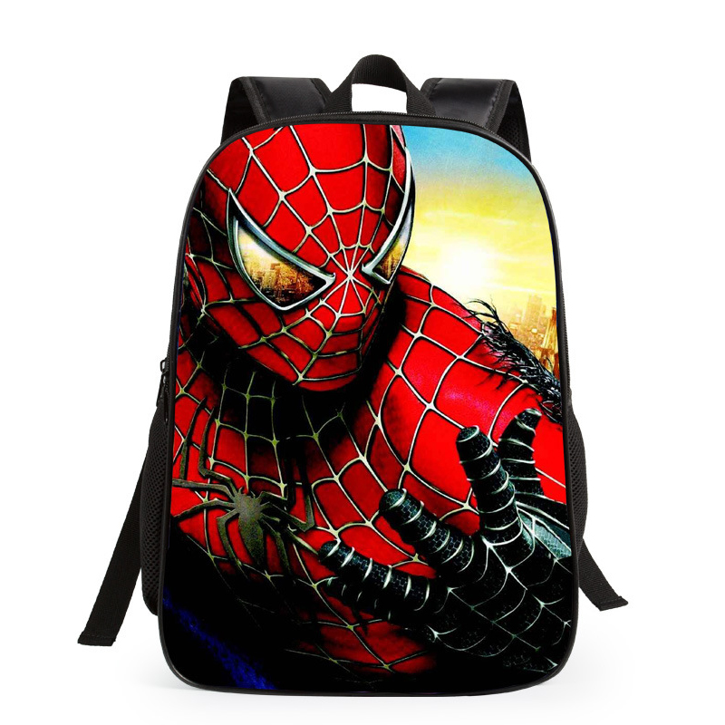 3D Spider-man Cartoon Double Shoulder Bag Unisex Primary Student Boy Girl Outdoor Travel Bag Teenagers Backpacks