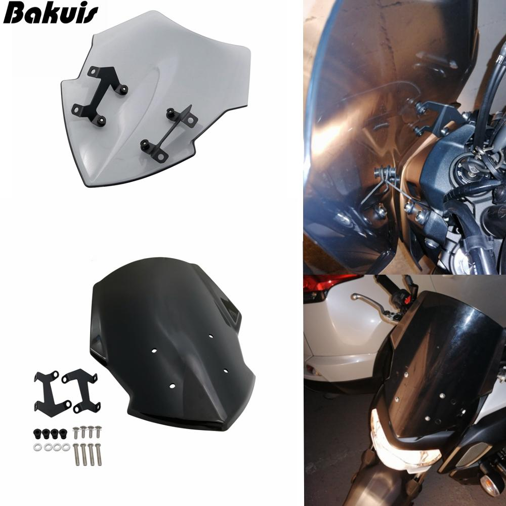 Windscreen For Yamaha MT07 2018 2019 Motorcycle Windscreen Windshield Deflector MT 07 FZ 07 FZ07 Shield Screen With Bracket motorcycle Color : Black