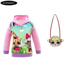 Aitonoble/ г. Весенне-осеннее пальто для девочек хлопковые толстовки с длинными рукавами детские свитшоты для детей, куртка принцессы для девочек, пальто