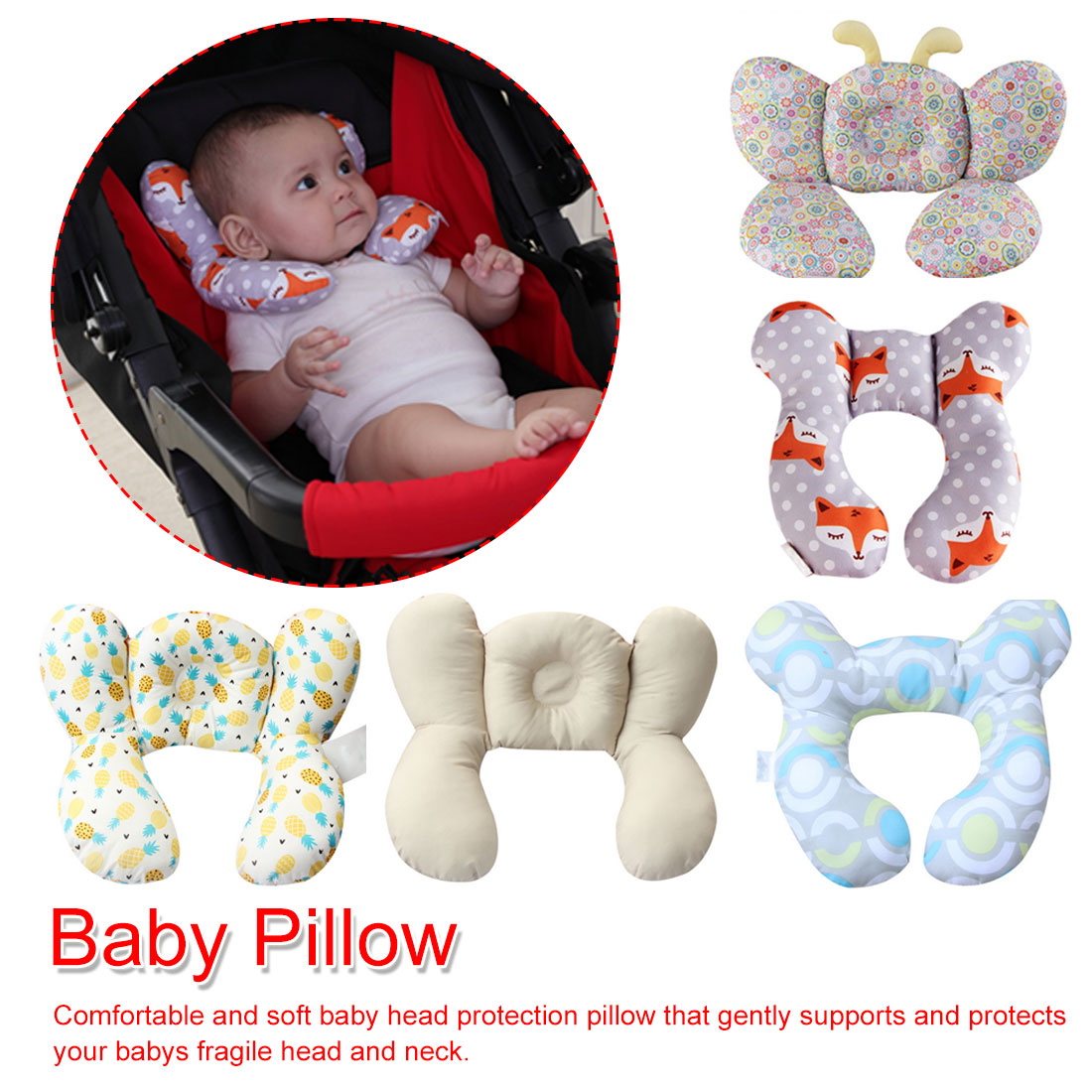 Baby Support Cushion Cotton Baby Pillow Stroller Equipment Safety Seat Pillows Baby Infant Neck Care Pillow