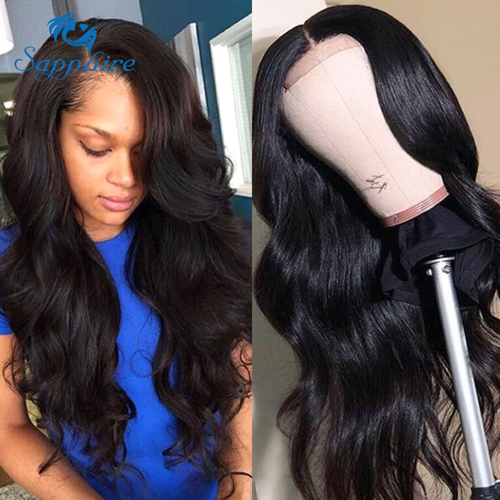H62e516e7a3b349a7af23c1caf922fd327 Sapphire Brazilian Remy Human Hair Wigs 4X4 Pre Plucked Brazilian Body Wave Lace Closure Wigs With Baby Hair For Black Women