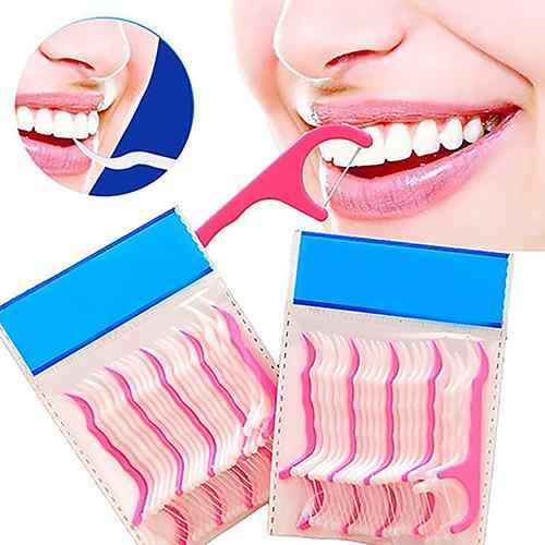 25-250 sztuk ABS Floss z przenośny pojemnik wykałaczki zębów niciowykałaczka zębów dentystycznych Floss szczoteczka międzyzębowa kij ząb