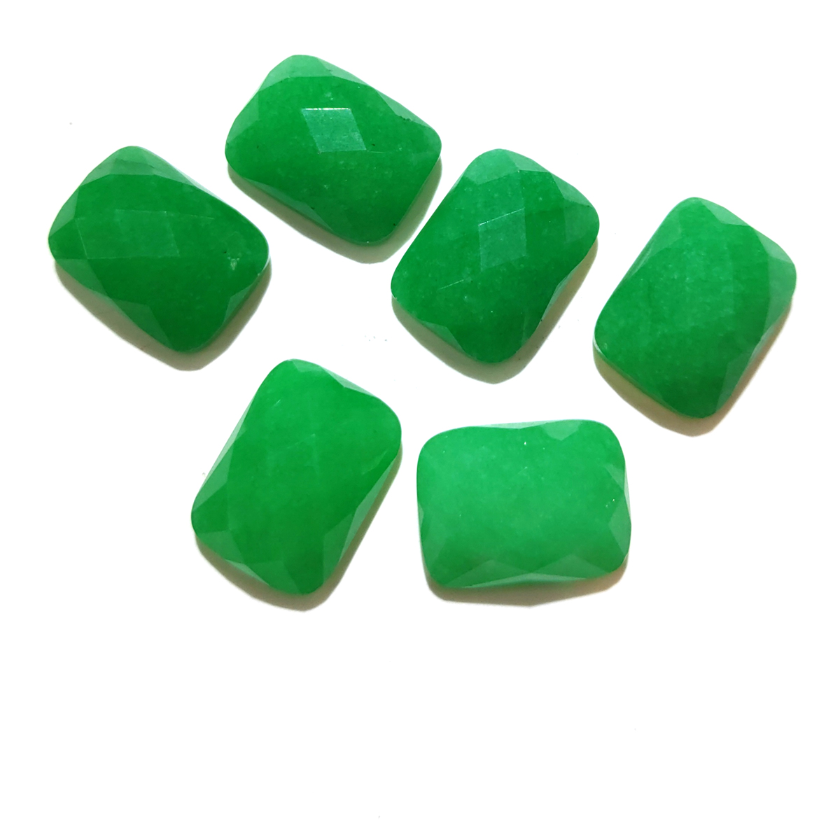 Natural Stone Malaysian Jade Cabochon Faceted Rectangle No Hole Loose Beads For Jewelry Making DIY Ring Necklace Accessories